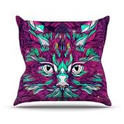 KESS InHouse Space Cat Outdoor Throw Pillow; 16'' H x 16'' W x 3'' D