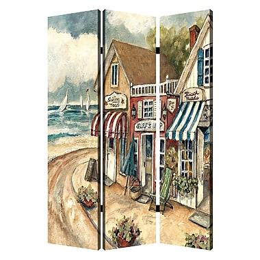 Screen Gems 72'' x 48'' Seaside Town 3 Panel Room Divider