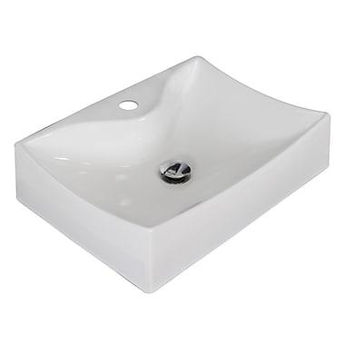 American Imaginations Ceramic Rectangular Vessel Bathroom Sink; White