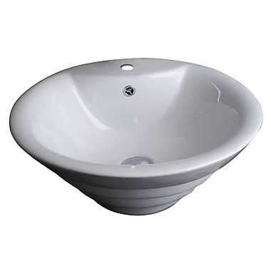 American Imaginations Above Counter Round Vessel Bathroom Sink w/ Overflow; White