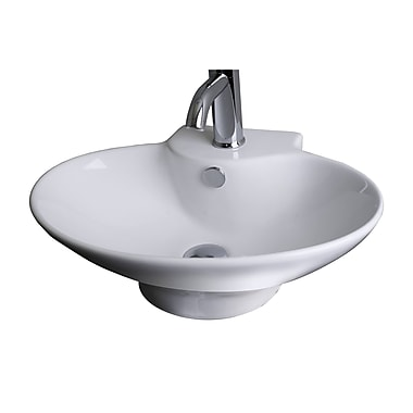 American Imaginations 7'' Wall Mounted Bathroom Sink w/ Overflow; White