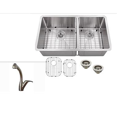 Soleil 32'' x 19'' Stainless Steel 16 Gauge Radius 60/40 Kitchen Sink w/ Faucet
