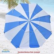 Shadezilla 8' Premium Beach Umbrella with Integrated Anchor, Hanging Hook, and Drink Holder