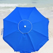 Shadezilla 6.5' Platinum Beach Umbrella with  Integrated Anchor, Hanging Hook, and Drink Holder