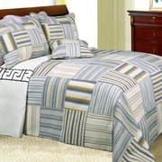Cozy Line Home Fashion Kevin Striped Patchwork Quilt Set; Full/Queen