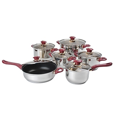 Alpine Cuisine Capsulated Cookware Set with Brown Glass Lids and Burgundy Handles Stainless Steel 12-Piece (KAAI15631)