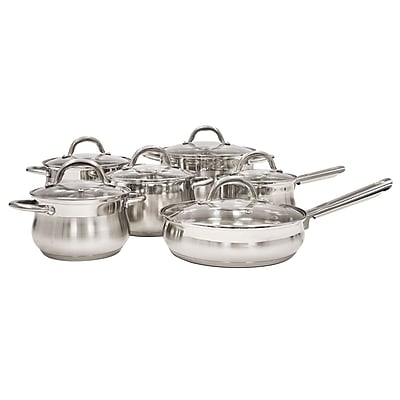 Alpine Cuisine Mirror Finished Cookware Set Stainless Steel 12-Piece (KAAI17494)