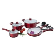 Alpine Cuisine Ceramic Cookware Set Red 12-Piece (KAAI-17826)