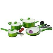Alpine Cuisine Ceramic Cookware Set Green 12-Piece (KAAI-17827)