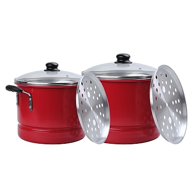 Alpine Cuisine Aluminum 6-Piece Steamer Set; Red (KAAI18104)