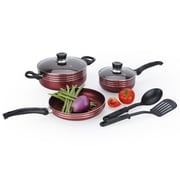 Alpine Cuisine Two-Tone Aluminum Non-Stick Cookware Set Maroon 7-Piece (KAAI18420)