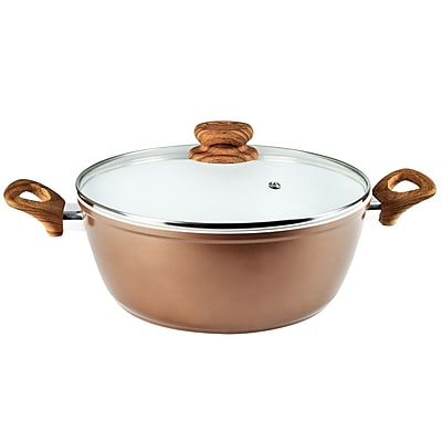 Alpine Cuisine 6-Quart Heavy-Gauge Aluminum Ceramic Pot, Tan (KACG-602) 2116381