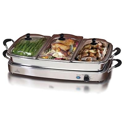 Elite Versatile Electric Triple Tray Buffet Server; Silver (KM9933)