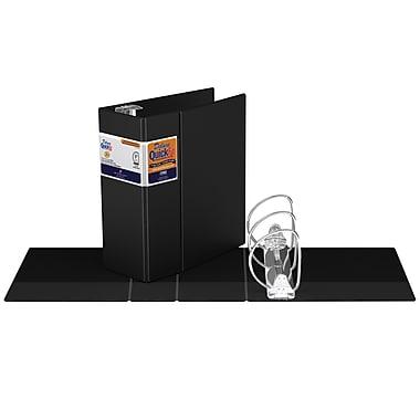 Reliure commerciale QuickFit® de luxe robuste, anneaux Quickload® blocables en D, 5 po, noir