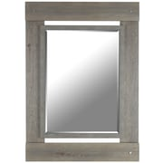 Hobbitholeco. Real Wood 30'' x 43'' Beveled Mirror; Grey