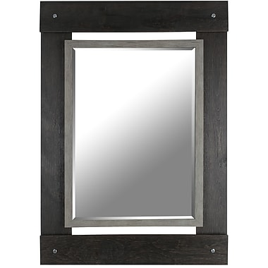 Hobbitholeco. Real Wood 30'' x 43'' Beveled Mirror w/ Black and Grey Wash