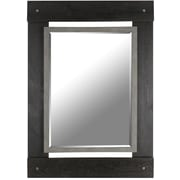 Hobbitholeco. Real Wood 30'' x 43'' Beveled Mirror w/ Black and Grey Wash