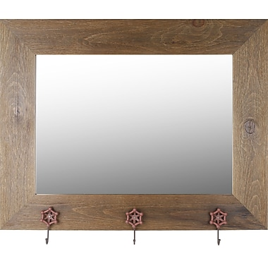 Hobbitholeco. Real Wood 29'' x 37'' Mirror w/ Hangers- Brown Wash