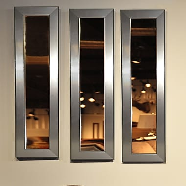 Rayne Mirrors Molly Dawn Silver Rounded Mirror Panel; 34'' H x 8'' W x 1'' D