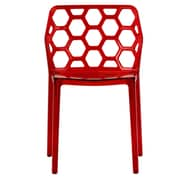 LeisureMod Dynamic Side Chair; Transparent Red