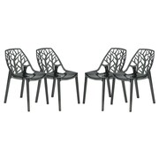 LeisureMod Cornelia Side Chair (Set of 4); Transparent Black