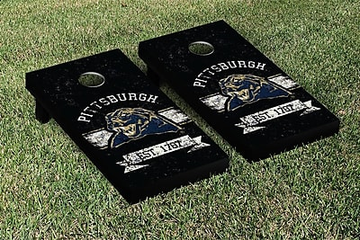 Victory Tailgate NCAA Vintage Version Banner Cornhole Game Set; University of Pittsburgh Panthers