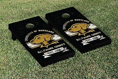 Victory Tailgate NCAA Vintage Version Banner Cornhole Game Set; Maryland Baltimore UMBC Retrievers