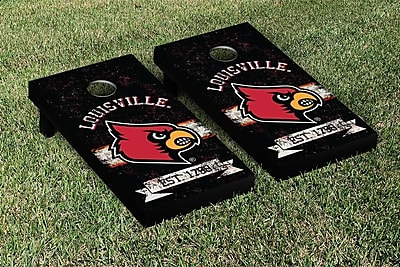 Victory Tailgate NCAA Vintage Version Banner Cornhole Game Set; Louisville Cardinals