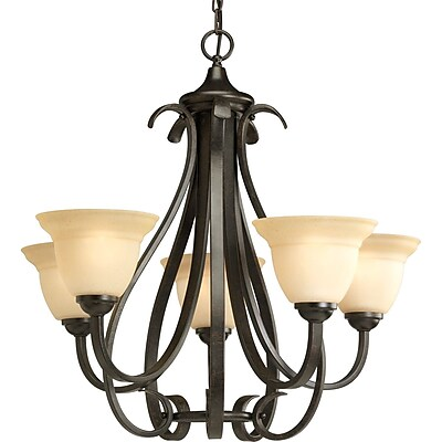 Progress Lighting Torino 5-Light Shaded Chandelier; Forged Bronze WYF078278582171