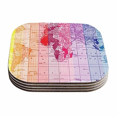 KESS InHouse Rainbow World Map Travel Coaster (Set of 4)