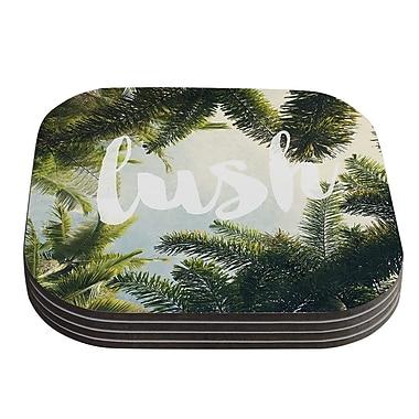KESS InHouse Lush Nature Typography Coaster (Set of 4)
