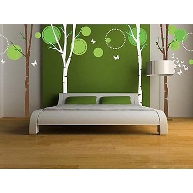 Pop Decors Nice 4 Big Birch Trees w/ Flying Butterflies Wall Decal
