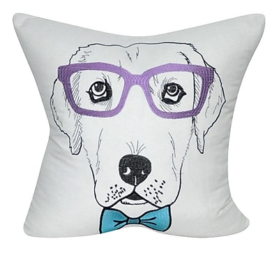 Loom and Mill Labrador Decorative Throw Pillow; White/Purple