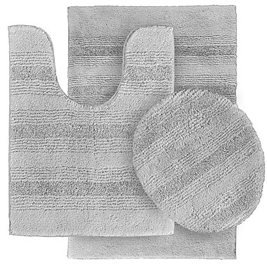 Wildon Home Deyanira 3 Piece Green Bath Rug Set (Set of 3); Platinum Gray