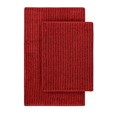 Wildon Home Devinne 2 Piece Red Bath Rug Set; Chili Pepper Red