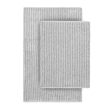 Wildon Home Devinne 2 Piece Red Bath Rug Set; Platinum Gray