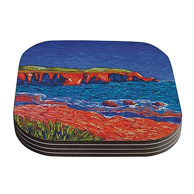 KESS InHouse Sea Shore Painting Coaster (Set of 4)