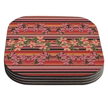 KESS InHouse Peach Hibiscus Stripe Coaster (Set of 4)