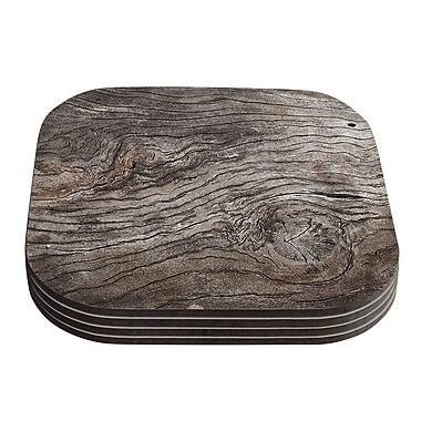 KESS InHouse Tree Bark Wooden Coaster (Set of 4)