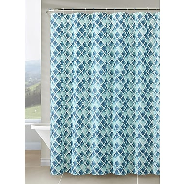 VCNY Peva Watercolor Diamond Shower Curtain; Teal