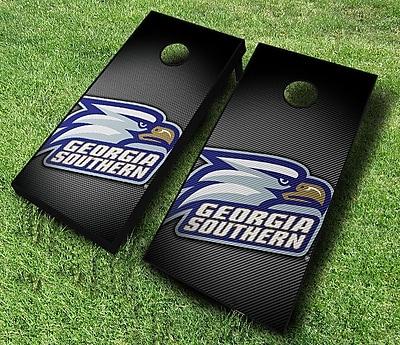 AJJCornhole NCAA 10 Piece Slanted Cornhole Set; Georgia Southern Eagles