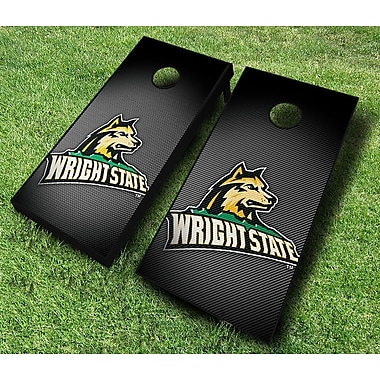 AJJCornhole NCAA 10 Piece Slanted Cornhole Set; Wright State Raiders
