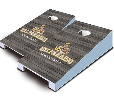 AJJCornhole NCAA 10 Piece Distressed Tabletop Cornhole Set; Valparaiso Crusaders
