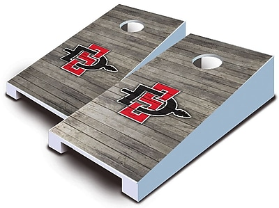 AJJCornhole NCAA 10 Piece Distressed Tabletop Cornhole Set; San Diego State Aztecs