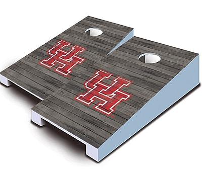AJJCornhole NCAA 10 Piece Distressed Tabletop Cornhole Set; University of Houston