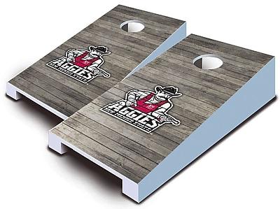 AJJCornhole NCAA 10 Piece Distressed Tabletop Cornhole Set; New Mexico State Aggies