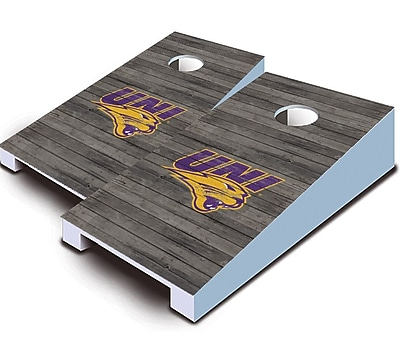AJJCornhole NCAA 10 Piece Distressed Tabletop Cornhole Set; University of Northern Iowa