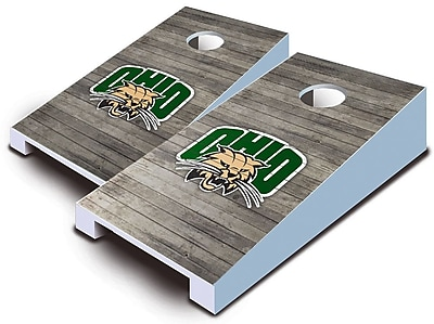 AJJCornhole NCAA 10 Piece Distressed Tabletop Cornhole Set; Ohio Bobcats