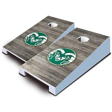 AJJCornhole NCAA 10 Piece Distressed Tabletop Cornhole Set; Colorado State Rams