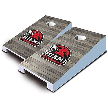 AJJCornhole NCAA 10 Piece Distressed Tabletop Cornhole Set; Miami Redhawks